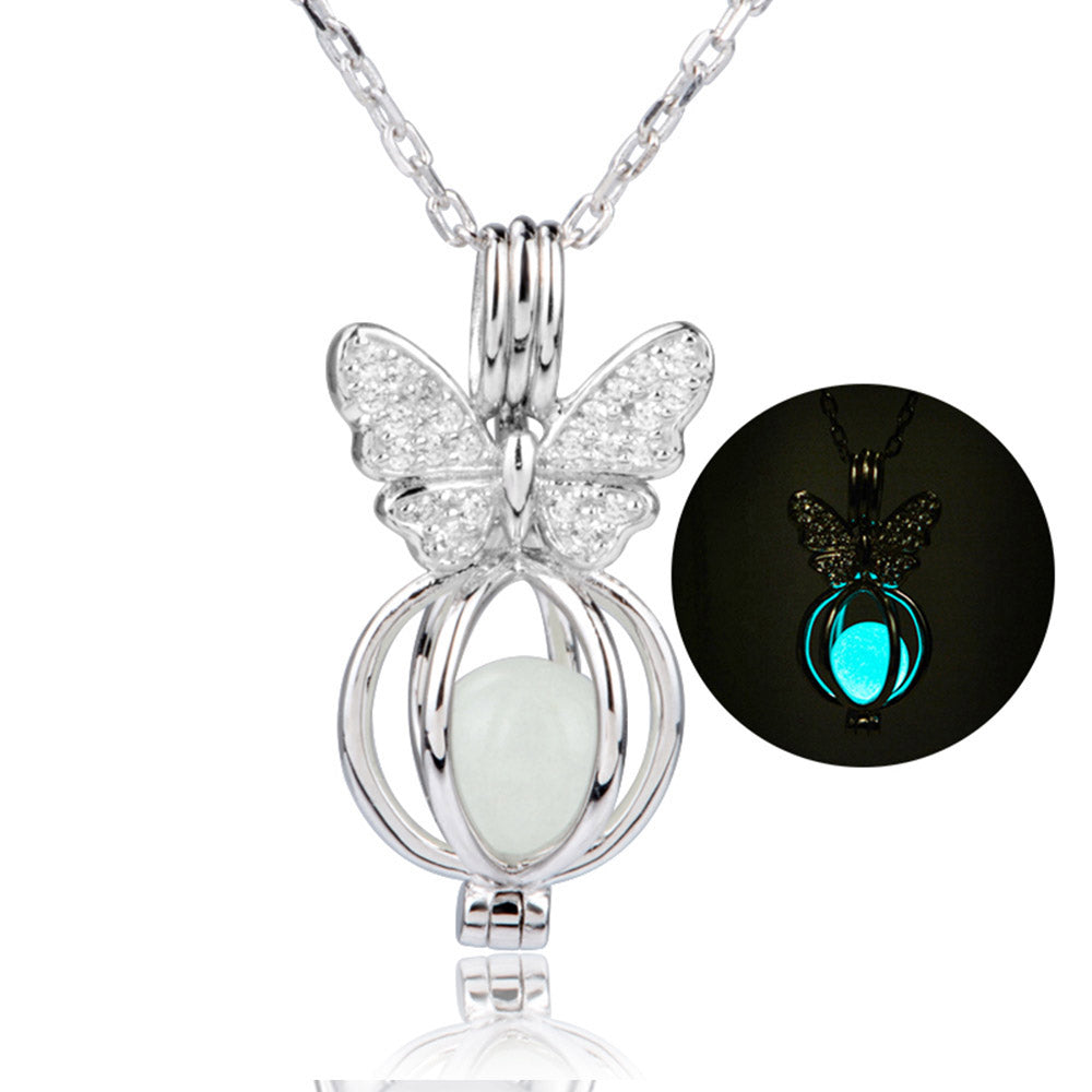 925 Sterling Silver Chain Luminous Pendant Fashion Jewelry Animal Glowing Bat Necklaces&Pendants For Women 2020 hot dropshipping
