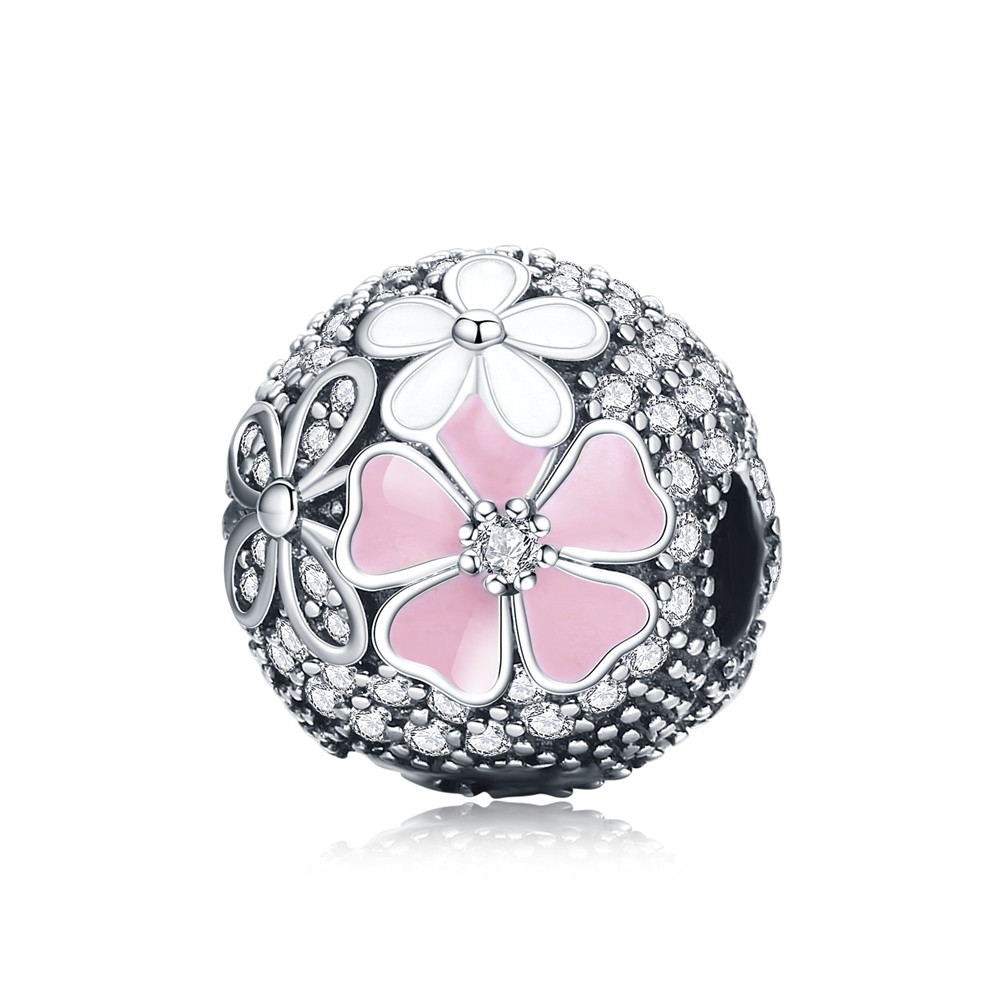 925 Sterling Silver Clip Heart Pave Snowflake Tree Leaves Cherry Flower Beads Stopper Fit Charm Bracelet Silver 925 Jewelry