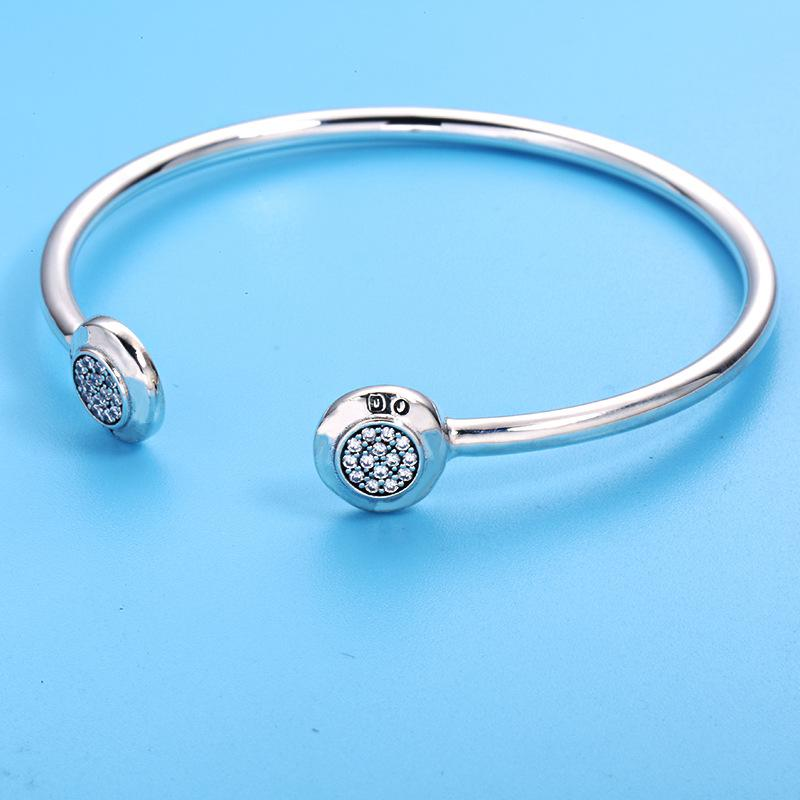 925 Sterling Silver Gold Color Classic Bangle With Clear CZ For Women Fashion Jewelry Fit Original Charm pan Bracelets