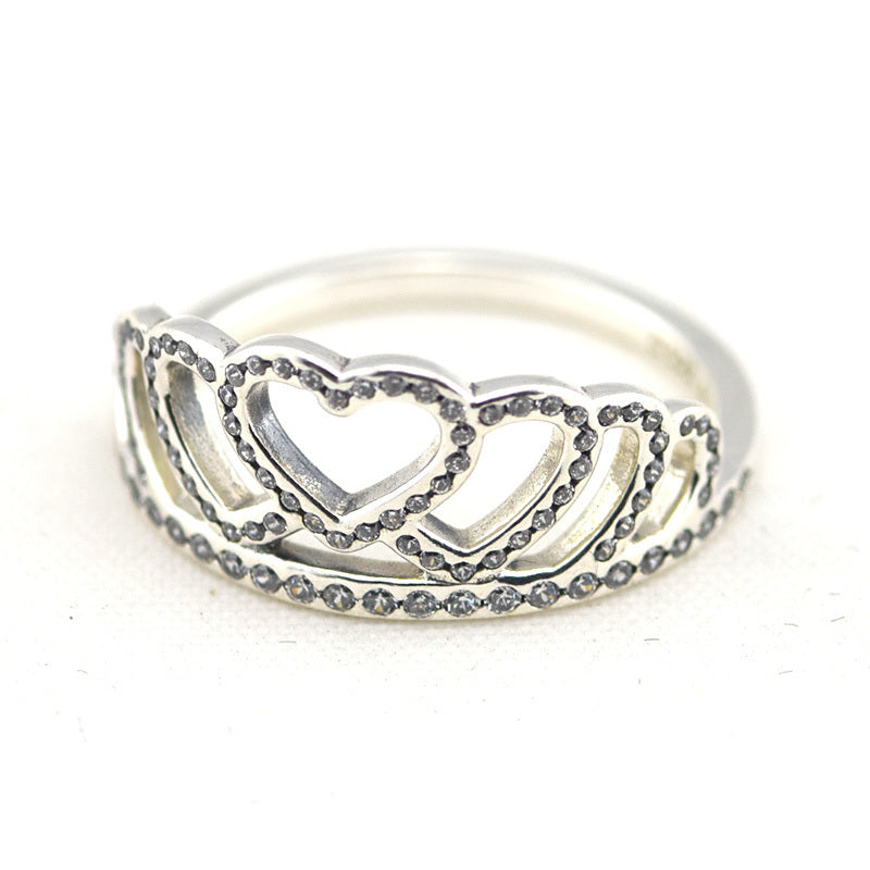925 Sterling Silver Jewelry Hearts Tiara Rings with Clear Cubic Zirconia Free Shipping