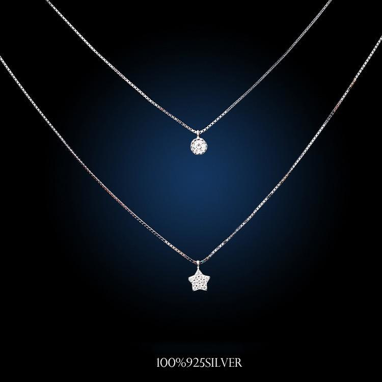 925 Sterling Silver Little Stars Multi-layer Necklaces & Pendants For Women Fashion Cubic Zirconia Jewelry Accessories
