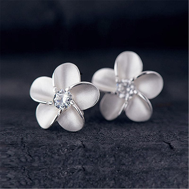 925 Sterling Silver Natural Flowers Earrings Inlaid Crystal Zircon Making Popular Jewelry Women's Earrings Wholesale