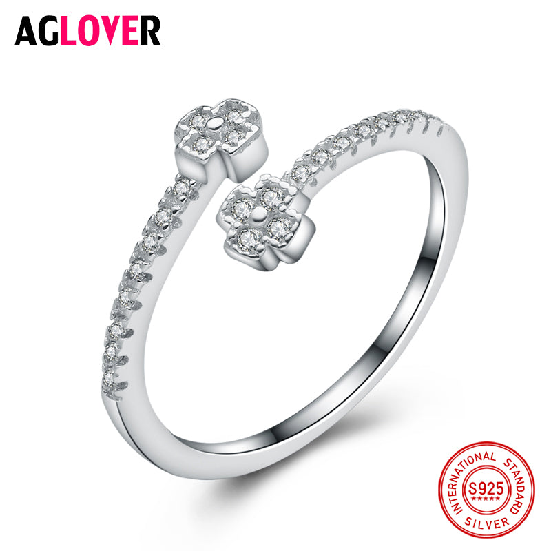 925 Sterling Silver Rings For Women Simple Design Fashion Crystal Jewelry Bridal Sets Wedding Engagement Ring Accessory