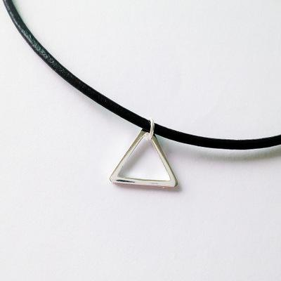 925 Sterling Silver Simple Chokers Necklaces For Women Geometry Pendant Black Genuine Leather Necklaces & Pendants 2020 Collares