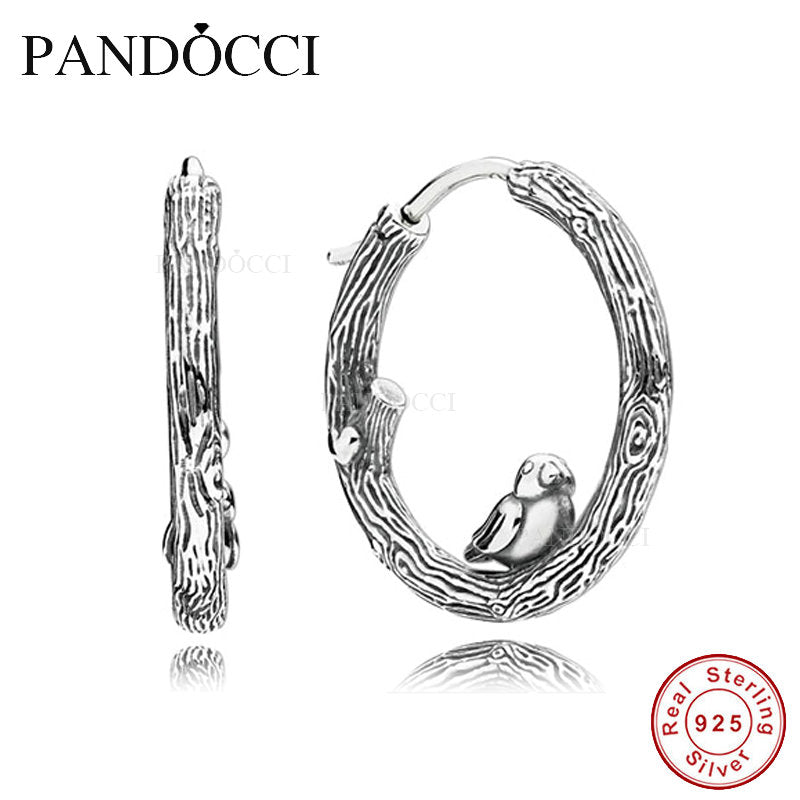 925 Sterling Silver Spring Bird Hoop Earrings For Women Original Jewelry Making Fashion Anniversary Gift PANDOCCI