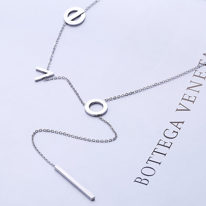 925 sterling silver LOVE necklace rose gold Korean makeshift short-set chain  female accessories fashion collarbone chain