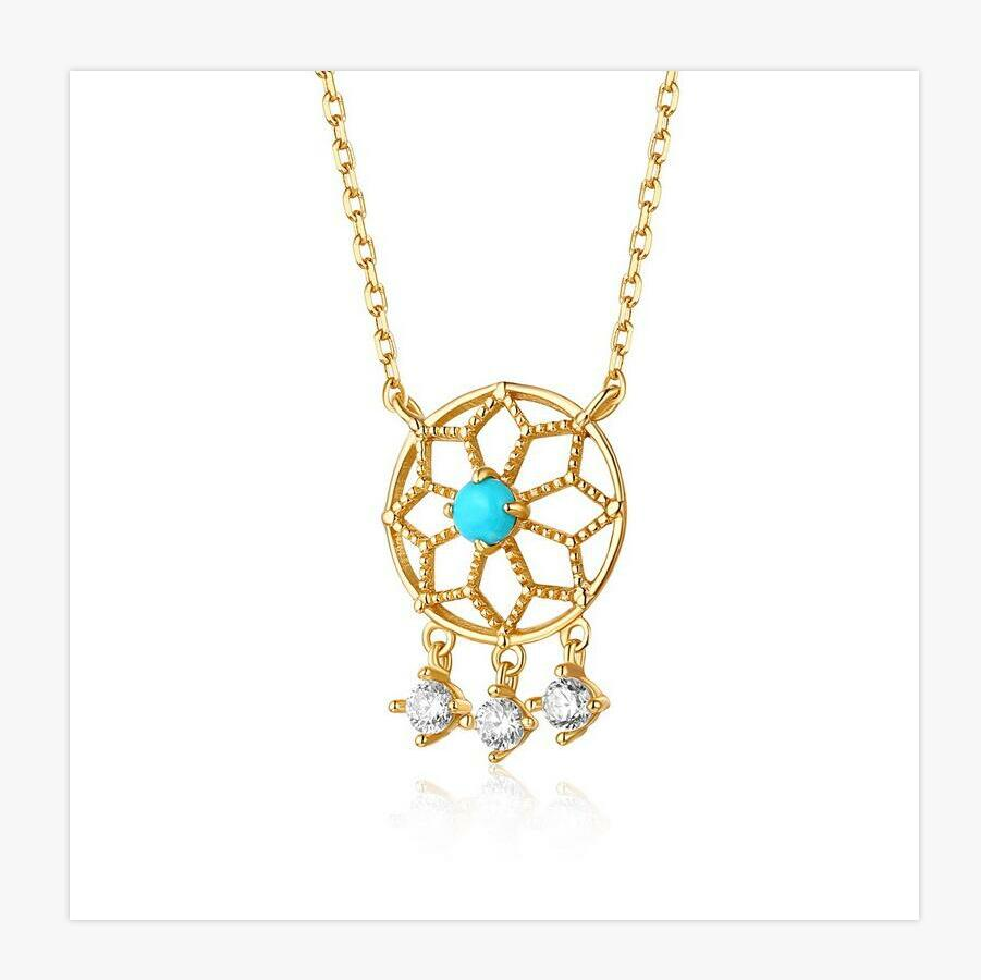 925 sterling silver retro hollow geometric garnet, turquoise necklace trend versatile ladies essential jewelry. J0139