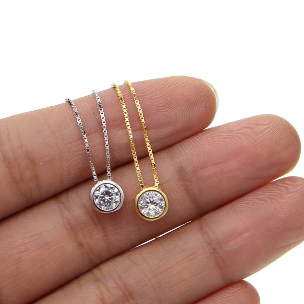 AAA cubic zirconia single round cz pendant wedding engagement gold color high quality 925 sterling silver necklace for women