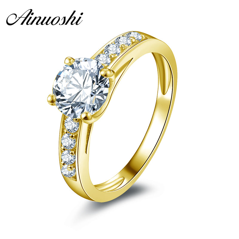10k Solid Yellow Gold Engagement Rings 1.25 ct Hotting Sale Simulated Diamond Fine Jewelry Lady Wedding Ring Customized