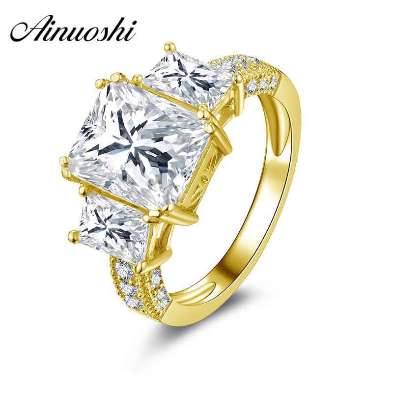 10k Solid Yellow Gold Rectangle Cut Wedding Ring Fine Jewelry Simulated Diamond Engagement Ring 3 Stone for Lady Bijoux