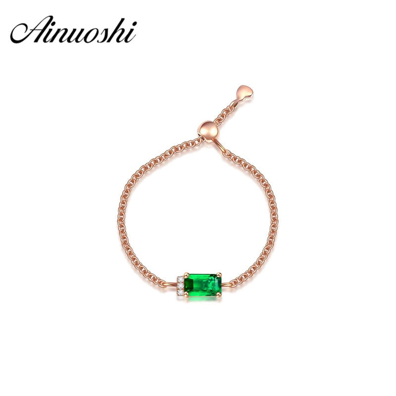 18k Solid Yellow Gold Tsavorite Chain Ring 0.34ct Emerald Cut Gemstones Women Engagement Wedding Rings Adjustable Ring