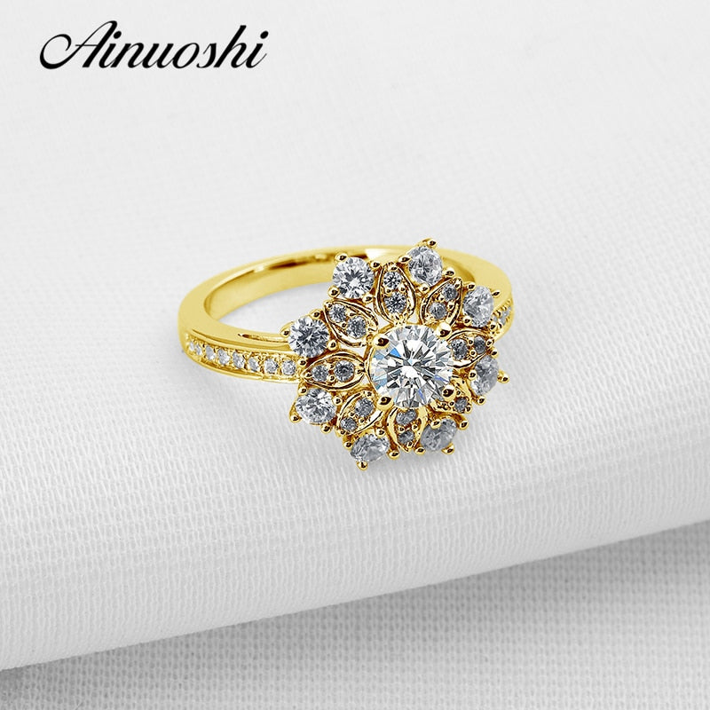 Luxury Flower Yellow Gold Ring Pure 10k Solid Gold Women Wedding Halo Ring Simulated Diamond Jewelry Gift Band Rings