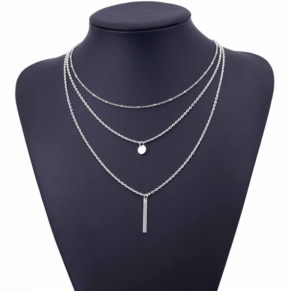 2020 Women's Fashion Jewelry Colar 1pc European Simple Gold Silver Plated Multi Layers Bar Coin Necklace Clavicle Chains