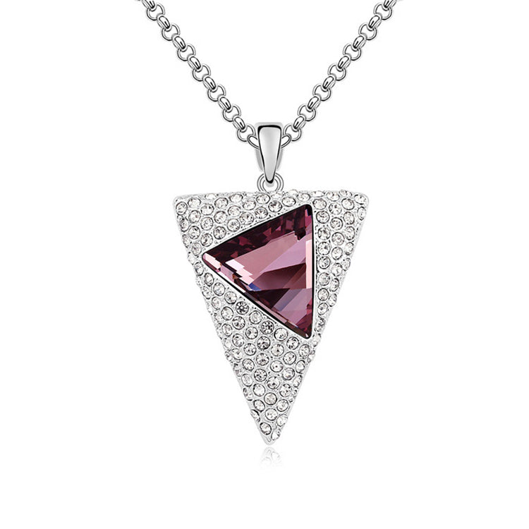 Triangle Pendant Necklace Limited Classic Accessories Jewelry Hot Sale Noble Rhodium Plated Crystals from Austria #96672