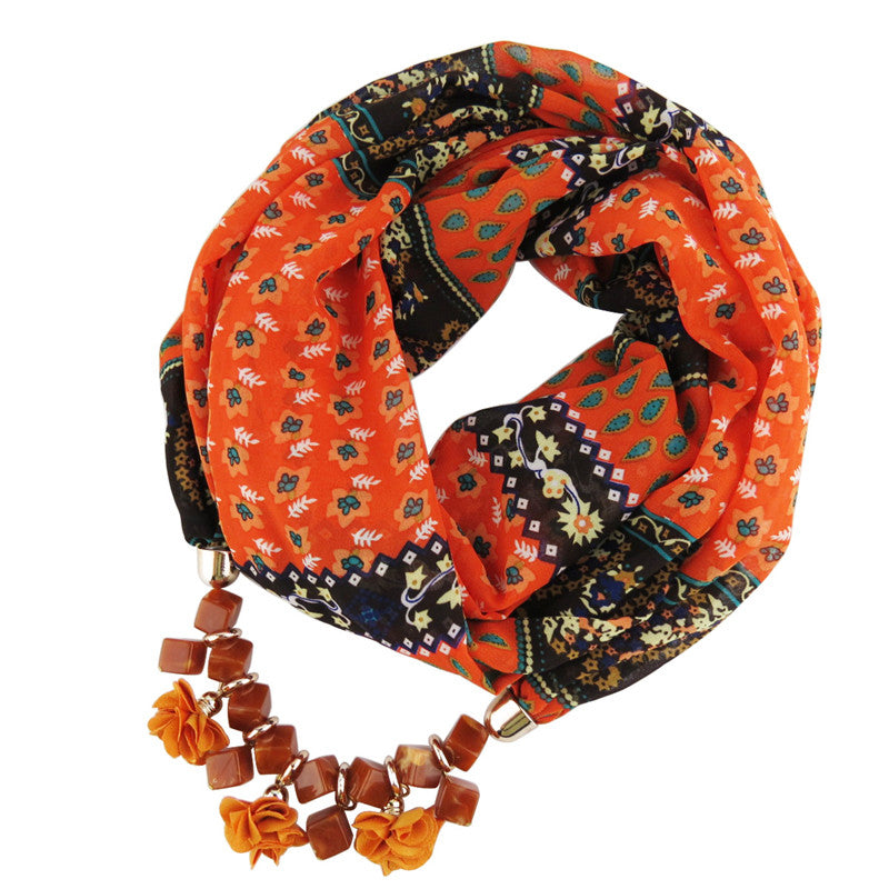 New Geometric Beads Necklaces Printing Flowers Pattern Wrap Chiffon Statement Scarf Necklace For Women Bohemian Jewelry