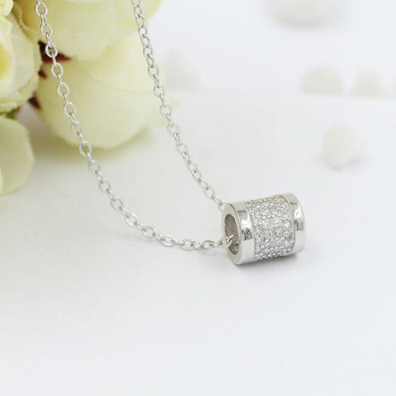 Allergy 925 Sterling Silver Jewelry Round Ball Simple Fashion Female Wild Crystal Clavicle Chain Pendant Necklace H195