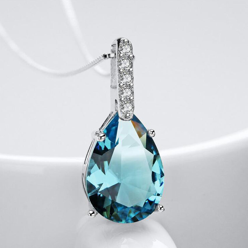 40% Off Pendant Blue Cubic Zirconia For Women 925 Sterling Silver Long Necklaces Pendants Jewelery With Chain Box WA041
