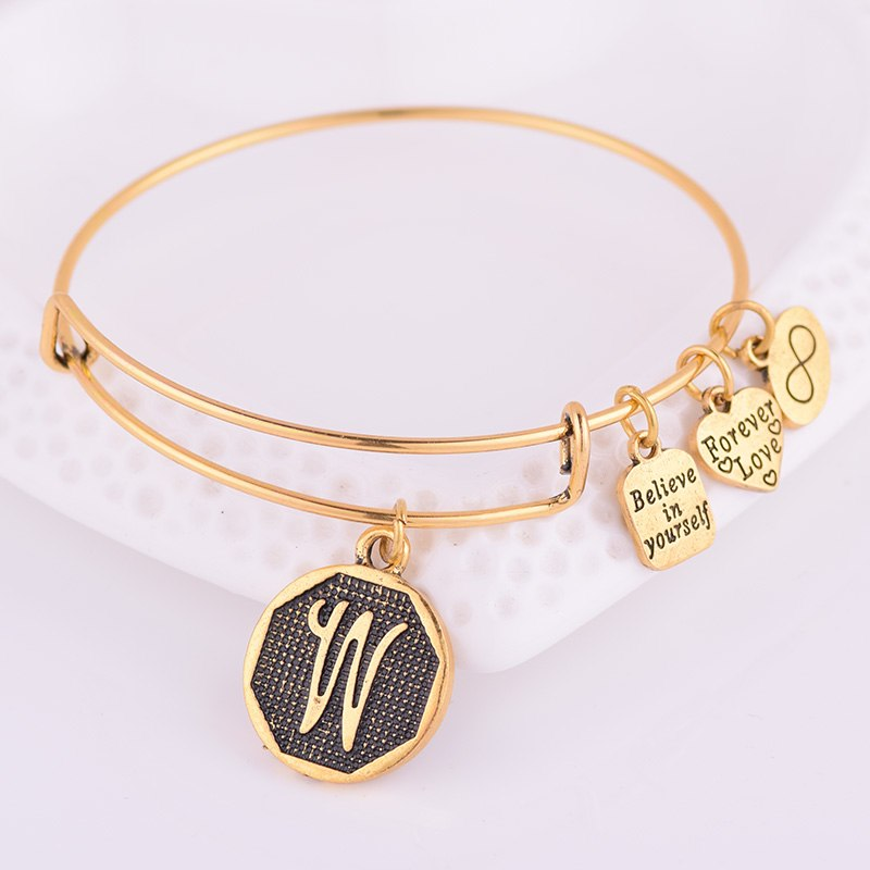 American Expandable Bracelet Diameter Metallic Ancient Gold A-Z Initial Letter Alphabet Charm Bracelet Adjustable Wire Bangle
