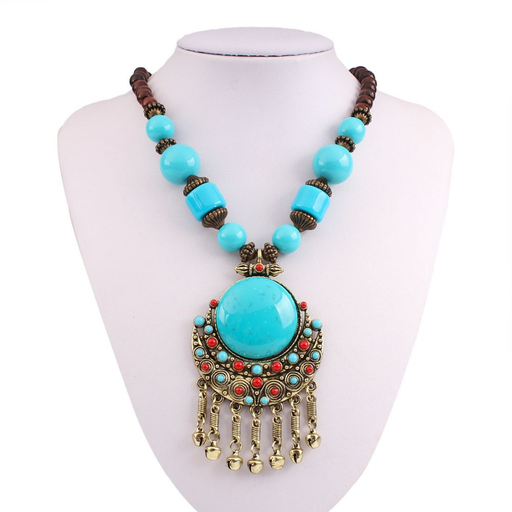 Antique Copper Plated Big and Small Simulated Turquoises Small Bells Tassel Necklace Vintage Ethnic Jewelry for Women