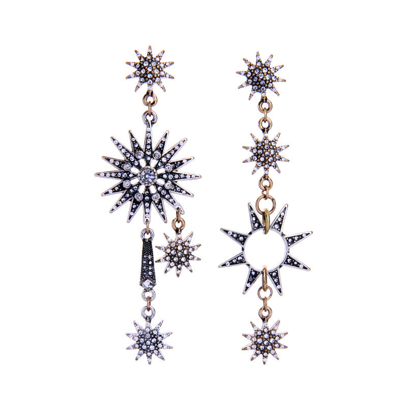 Asymmetric Snowflake Crystal Long Ethnic Statement Hanging Earrings Online Shopping India Fashion Ear Piercing Women Jewelry