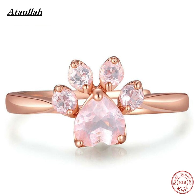 New 925 Silver Flowers Cat Claw Pink Rose Quartz Rings for Women Sterling Silver Women Rings Rose Gold Plated RWD847