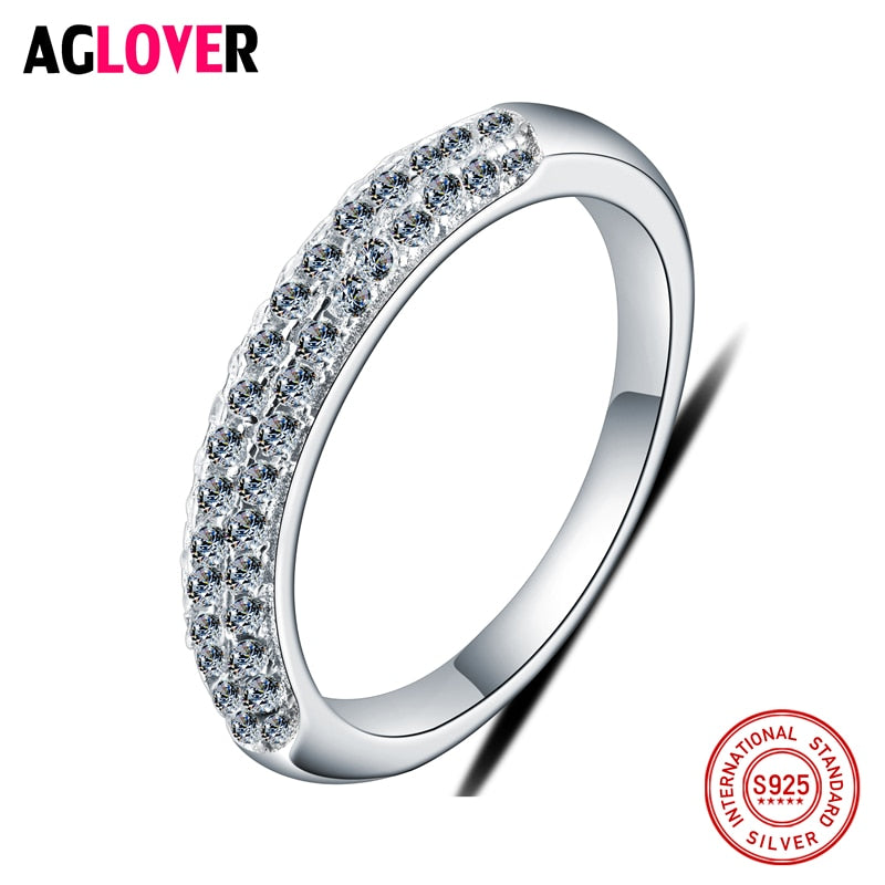 Authentic 925 Sterling Silver Ring Wedding Party Rings with CZ Full Crystal Rings Women European Style
