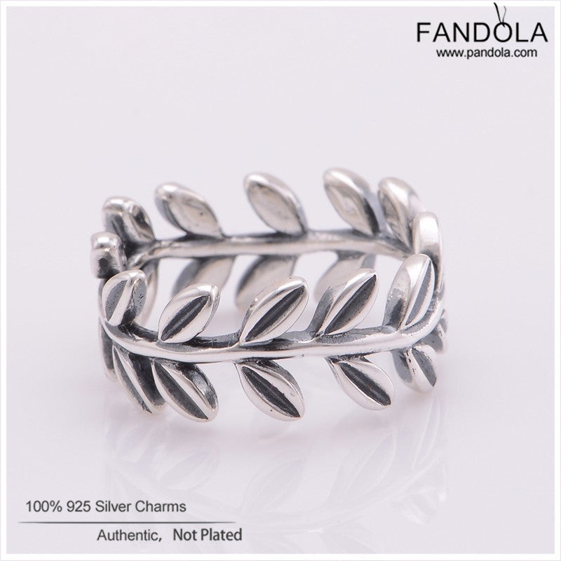 Authentic 925 Sterling Silver Rings Laurel Wreath Leaves Ring For Women Engagement Wedding Gift Europe Fine Jewelry Wholesale