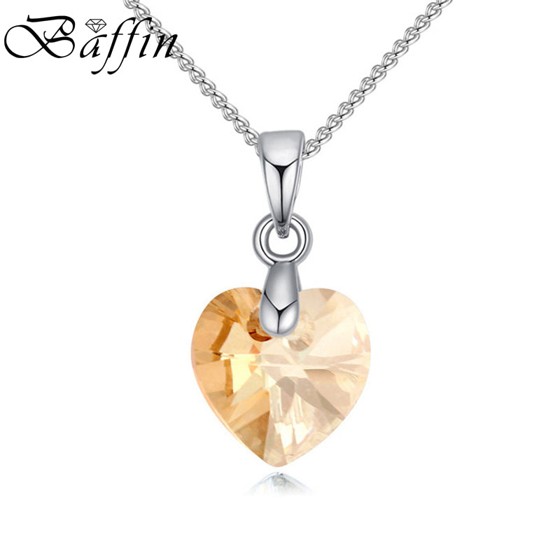 Crystal Necklace Heart Pendant Crystals From Swarovski For Women Girls Gifts Silver Color Chain Kids Jewelry Decorations
