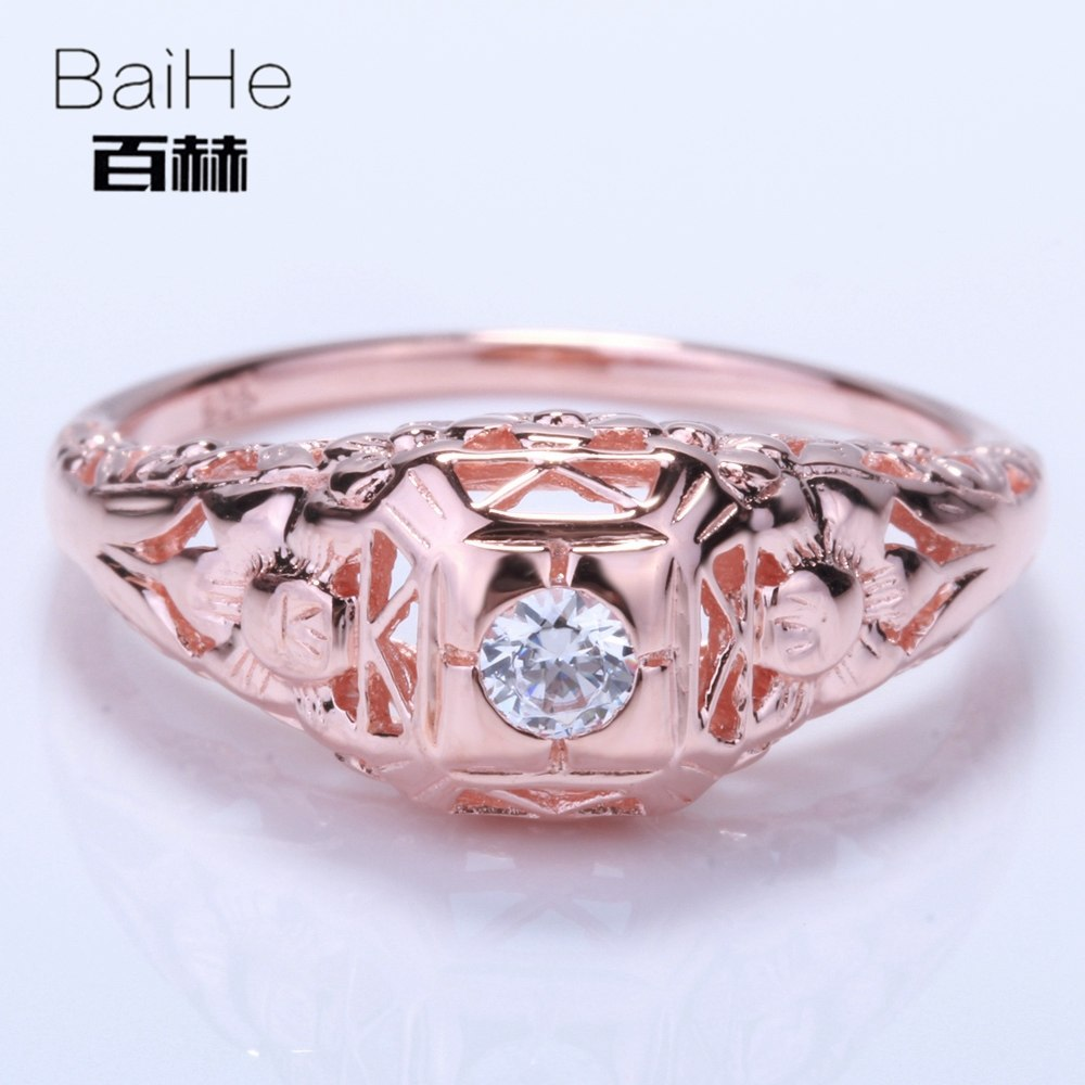 BAIHE Solid 14K Rose Gold(AU585) 0.21CT Certified White/Flawless circular Graded Cubic Zirconia Engagement Women Trendy Ring