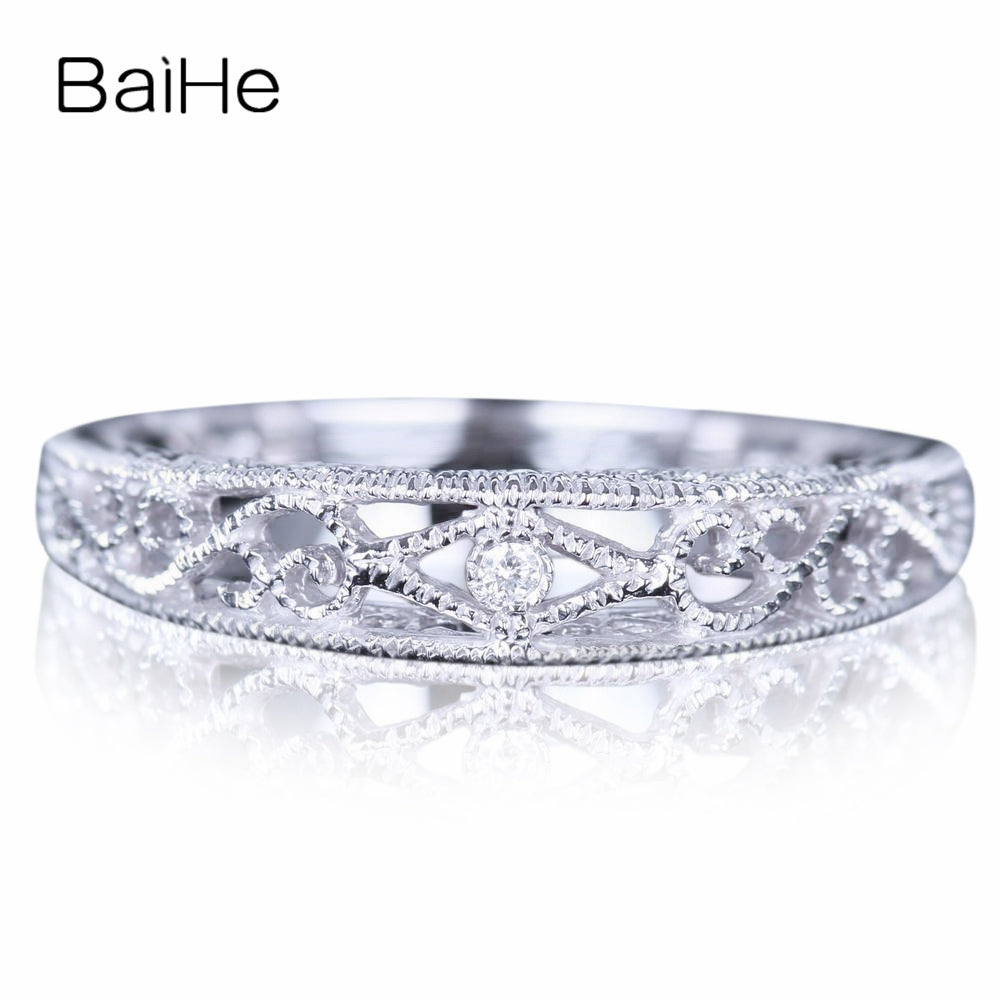 BAIHE Solid 14K White Gold(AU585) 0.005CT Certified H/SI Round 100% Genuine Natural Diamonds Wedding Women Cute/Romantic Ring