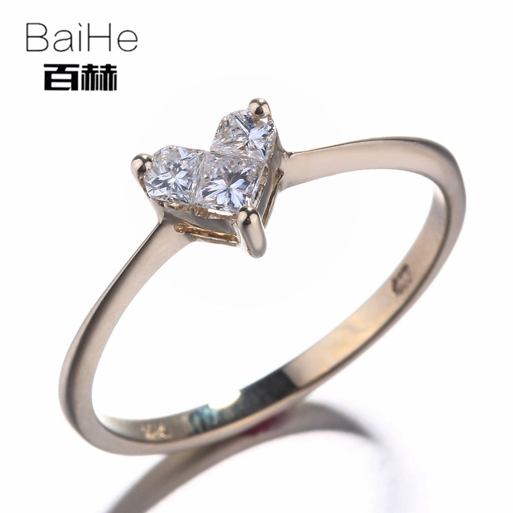 BAIHE Solid 14K Yellow Gold(AU585) 0.46CT Certified H/SI Princess Three Natural Diamonds Wedding Women Trendy Fine Jewelry Ring