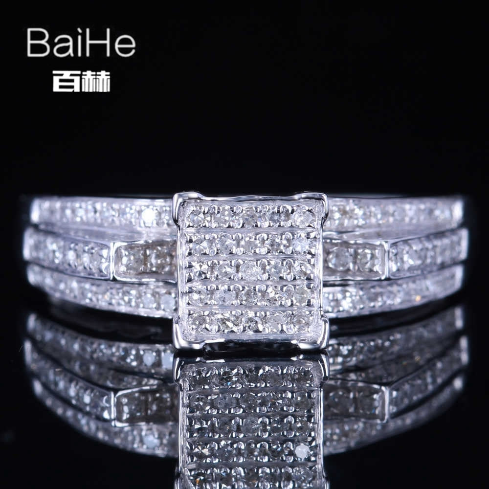 BAIHE Sterling Silver 925 0.4CT Certified H/SI Round 100% Genuine Natural Diamonds Party Women Office/career Fine Jewelry Ring