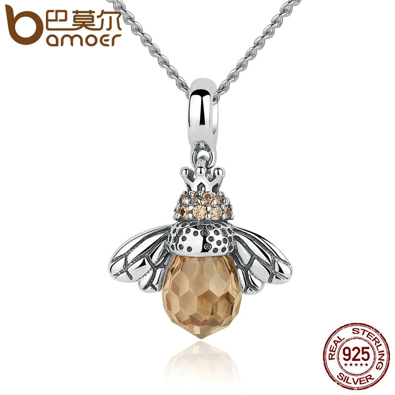 925 Sterling Silver Lovely Orange Bee Animal Pendants Necklace for Women Fine Jewelry CC035