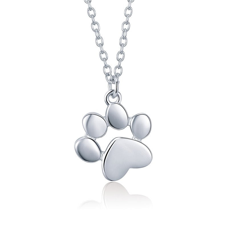 925 Sterling Silver Rose Gold Color Animal Footprints Dog Cat Footprints Necklaces Pendants Women Silver Jewelry SCN275-3