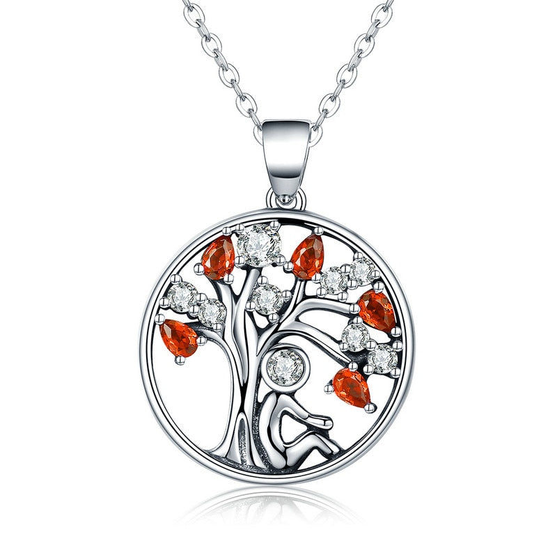 BAMOER Hot Sale 100% 925 Sterling Silver 2 Color Tree of Life AAA Zircon Pendant Necklaces for Women Jewelry Brincos SCN203