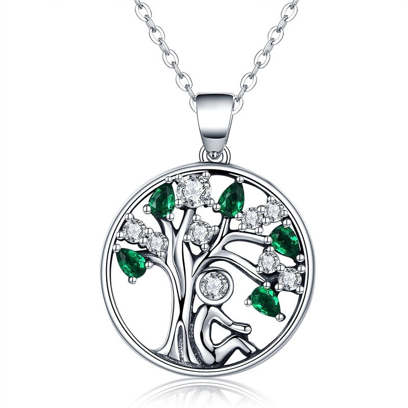 Popular 925 Sterling Silver Rely Tree of Life Pendant Necklaces Clear Green C Women Fashion Jewelry Brincos Gift SCN094