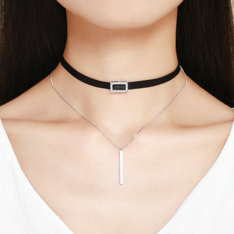 BAMOER Trendy Double Layer 925 Sterling Silver & Black Braid Bar Square Chokers Pendant Necklaces Femme Collar Jewelry SCN080