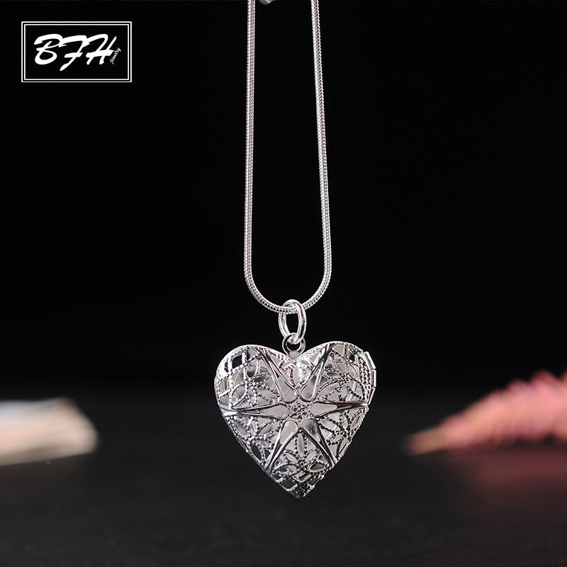 Fashion Charm New Heart Shaped Necklace Pendants for Women Girl Wedding Elegant Silver Long Necklace Jewelry Gift Wholesale