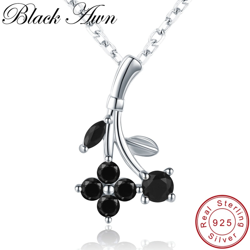 [BLACK AWN] 925 Sterling Silver Jewelry Necklace for Women Flower Pendants Female Bijoux Girl's Gift Silver 925 Jewelry K028