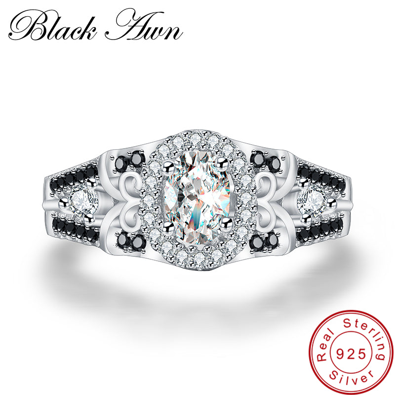 [BLACK AWN] 925 Sterling Silver Row Black Stone Engagement Rings for Women Fine Jewelry Bague C315