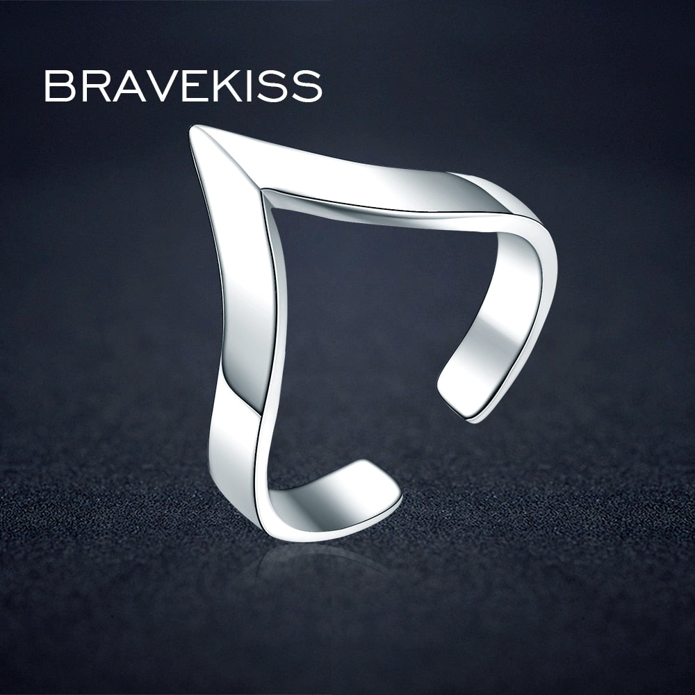 V Shape 925 Silver Ring Designs For Female With Price Open Adjustable Plain Triangle Finger Rings Jewelry BLR0313