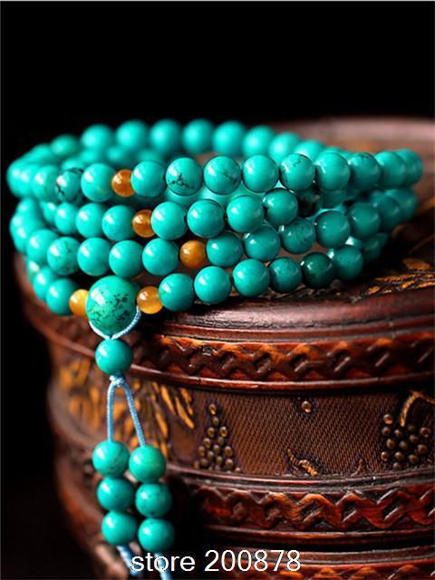 BRO536 Tibetan 108 beads 6/8mm GREEN Enhanced Turquoises Meditation Prayer Mala Necklace