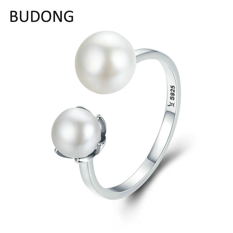 Authentic 925 Sterling Silver Finger Rings Women Double Pearl Adjustable Ring Bague Fine Jewelry Gift LH970