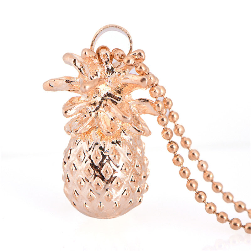 BandMetal Chain Tiny Pineapple Fruit Cute Charm Long Chain Jewelry Necklace Pendant Gold Color Suspension Pendants Model Silver