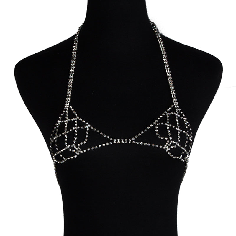 2020 Sexy Women Love Rhinestone Bra Brassiere Body Necklace Chain Summer Hot Fashion Statement Necklace Jewelry 4468