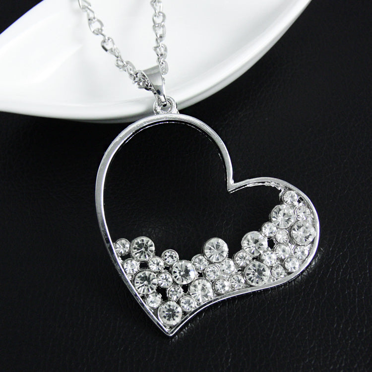 Big Heart Necklace Pendants Hallow out Silver Chain Long Necklaces Women Long Necklaces & Pendants Gifts Dresses nke-m67