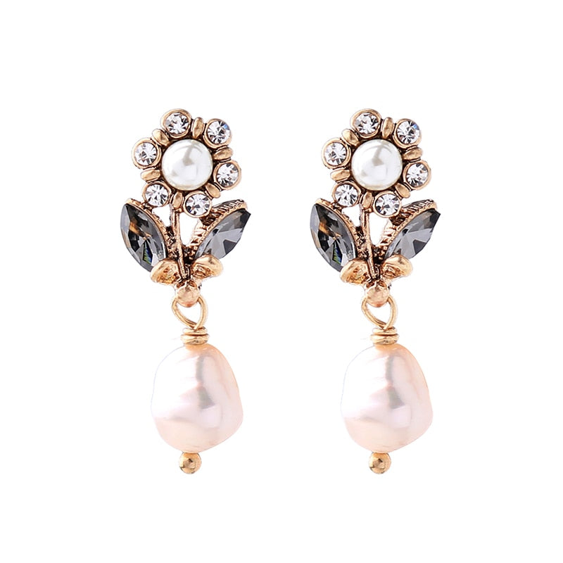 Bijoux Cultured Pearl Flower Earrings Fashion Jewelry Online Shopping India Women Short Earrings Hanging Accessories