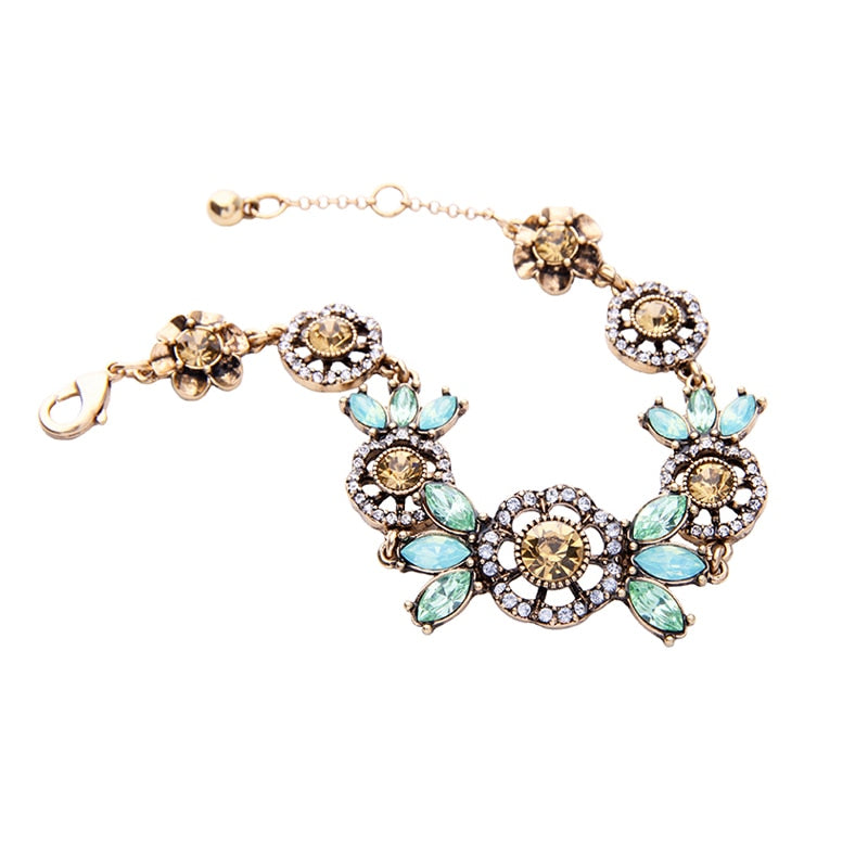 Bijoux Vintage Crystal Flower Bracelet for Women Online Shopping India Fashion Charm Bracelet Brand Jewelry