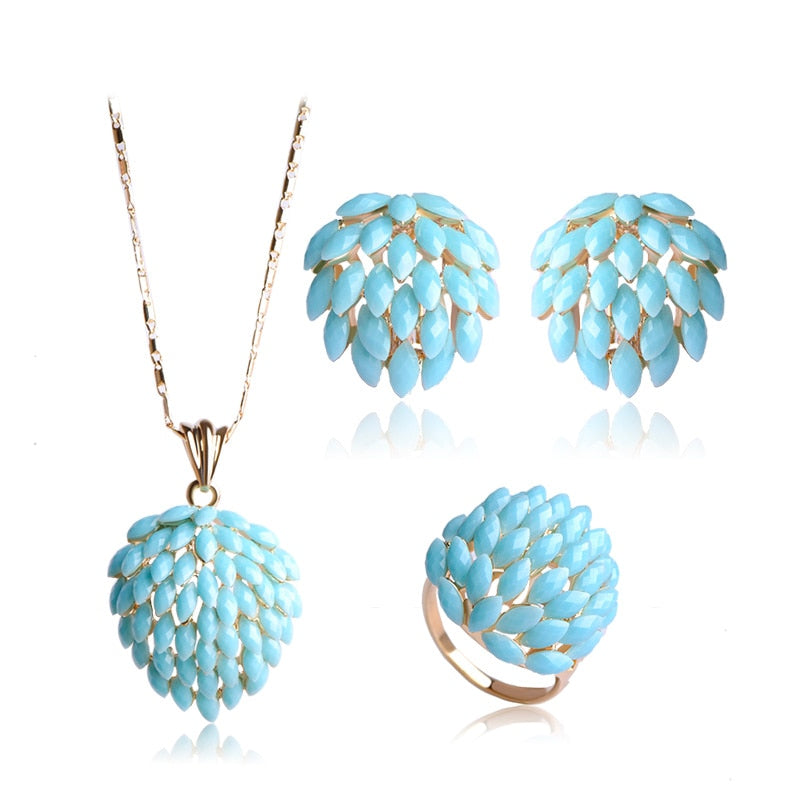 Classic Flower Jewelry Set For Women Bridal White Acrylic Resin Statement Necklace Pendant French Hook Earrings Ring Set