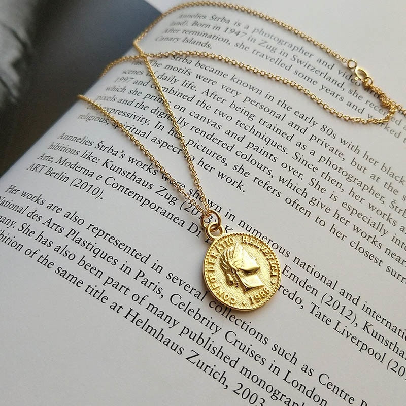 Bohemia Round Coin Choker Necklace Pendant For Women Medal Gold Silver Color Disc Face Necklace Dainty Gifts New European 2020